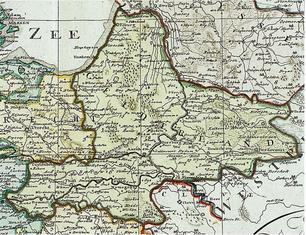 Map of Gelderland, The Netherlands circa 1802