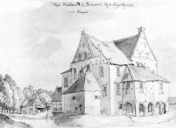 "This is what the Walfort Castle located near Aalten, Gelderland6 Netherlands looked like in 1743. Caption: ""Huis Wallvoord, by Bredvoord 13.August.1743."""