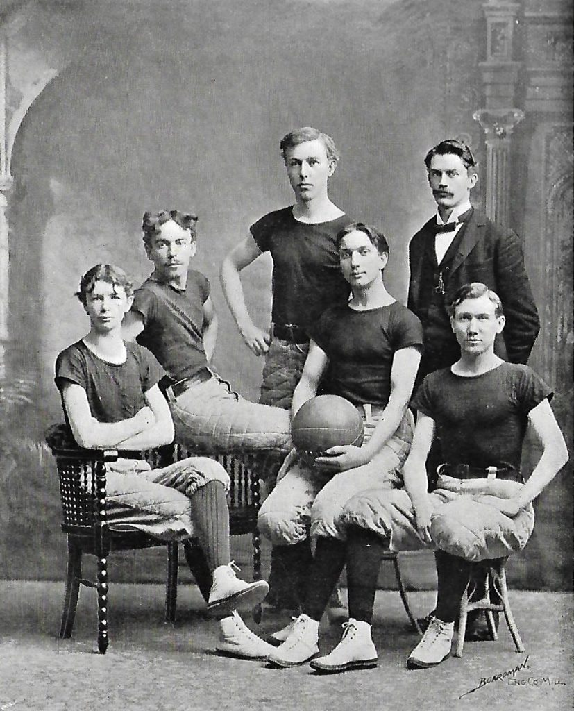 John Walvoord Played Right Forward for the Milwaukee Normal School Cardinal Basketball Team (seated right)
