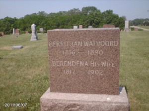 Tombstone of Gerrit and Berendena Walvoord in Holland, Nebraska