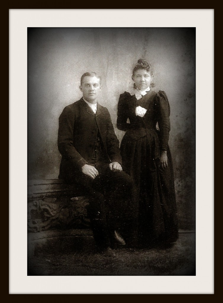 Wedding photo of Ewaldus Vande Wall and Anna (Walvoord) Vande Wall c. 1888