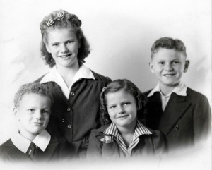 Mary Walvoord with her younger siblings left to right) Johnny, Joann, and David