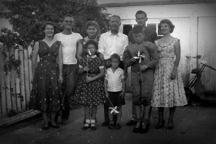 The Randall and Elizabeth Walvoord Family in Amarillo, Texas in January of 1955. (Left to Right) Joann, Johnny, Elizabeth, Randall, David, Mary. In front, Betty Jo, Gary, and Randy.