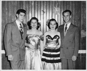 Senior Prom: left to right Bill Forbes, Joann Walvoord, best friend Punky and her boyfriend.
