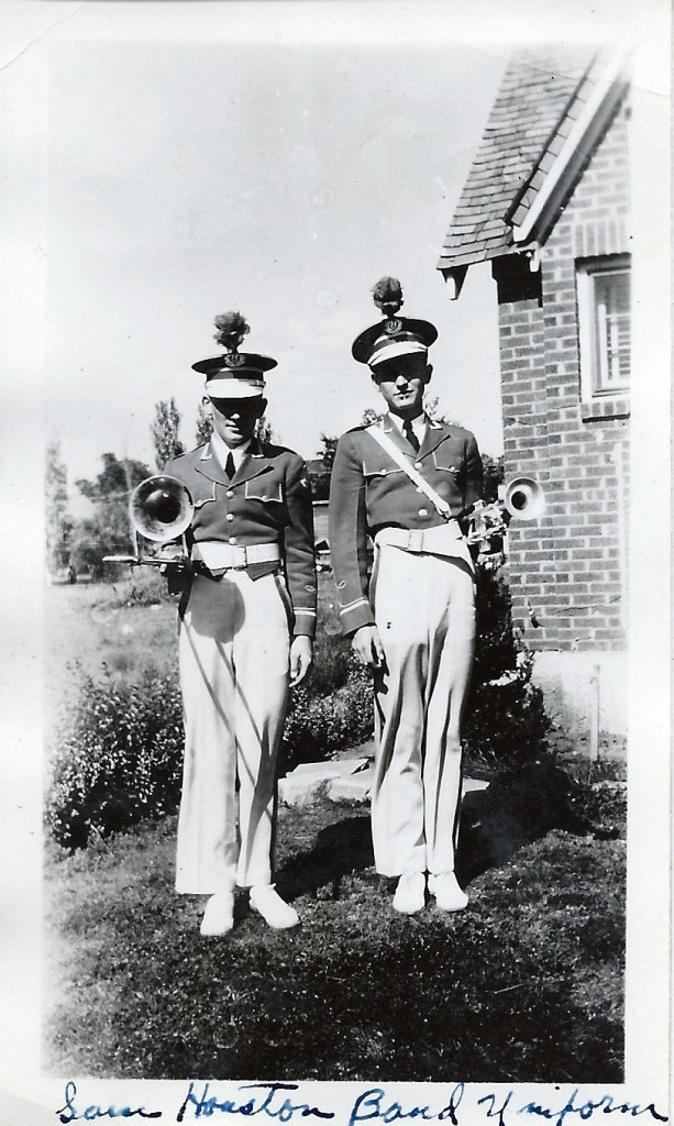 David Walvoord (on left) with his younger brother Johnny in their Sam Houston Jr. High School band uniforms. at