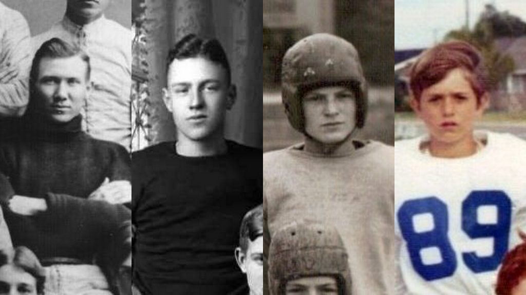 Four Generations of Walvoord Football Players in 1895, 1921, 1945, 1972